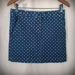 J. Crew polka dot denim skirt